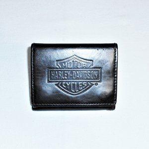 Harley Davidson Black Leather Logo Tri Fold Wallet